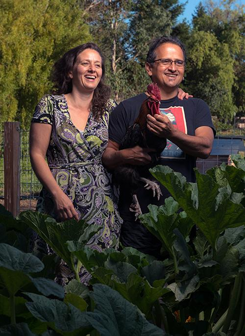 Dr. Jennifer Weiss in the Garden with her husband